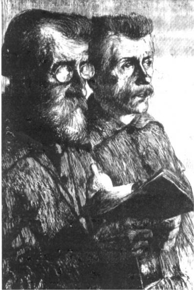 """""""Betende Bergleute"""" Radierung von Prof. Georg Erler"""